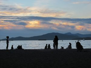 A sunset at picturesque Kitsilano beach, Vancouver.